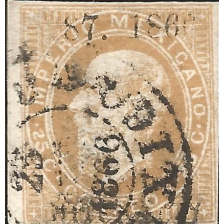 J) 1866 MEXICO, EMPEROR MAXIMILIAN, CIRCULAR CANCELLATION, GOTHIC, LITHOGRAPHED, SCN 28, XF