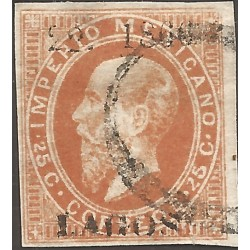 J) 1866 MEXICO, EMPEROR MAXIMILIAN, 25 CENTS, LITHOGRAPHED, FINE LOOKING, LAGOS, XF