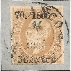 J) 1866 MEXICO, EMPEROR MAXIMILIAN, 25 CENTS, FRAGMENT, CIRCULAR CANCELLATION, LITHOGRAPHED, XF