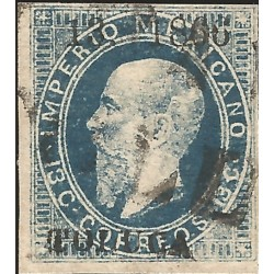 "J) 1866 MEXICO, EMPEROR MAXIMILIAN, 13 CENTS BLUE, TOLUCA, LITHOGRAPHED, NICE LINE ""TOLUCA"" CANCEL, XF"