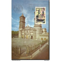 J) 1970 MEXICO, MEXICO TURISTIC, THE PUEBLA CATHEDRAL, POSTCARD