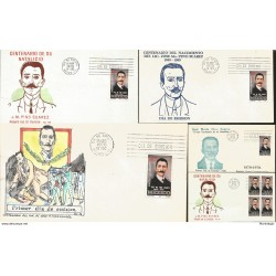 J) 1970 MEXICO, CENTENARY OF THE BIRTH OF JOSE M. PINO SUAREZ, PAINTING, WITH EMBOSSED, SET OF 5 FDC