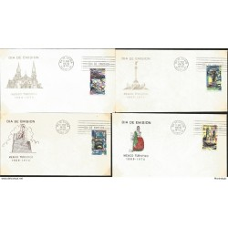 J) 1970 MEXICO, MEXICO TURISTIC, BUILDINGS, DRESS, SET OF 4 FDC