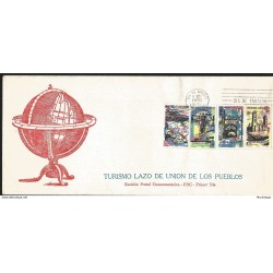 J) 1970 MEXICO, MEXICO TURISTIC, TOURISM, TIE OF UNION OF THE PEOPLES, GLOBE, MULTIPLE STAMPS, FDC