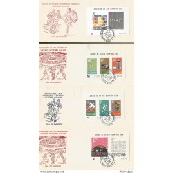 J) 1968 MEXICO, GAMES OF THE XIX OLYMPICS OF MEXICO, OCTOBER, SOUVENIR SHEET, SET OF 4 FDC