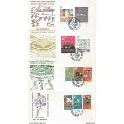 J) 1968 MEXICO, GAMES OF THE XIX OLYMPICS OF MEXICO, OCTOBER, MULTIPLE STAMPS, SET OF 4 FDC