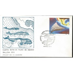 J) 1982 MEXICO, FOURTH SET OF FAUNA OF MEXICO, WHITE WHALE, MAP, TURTLES, FDC