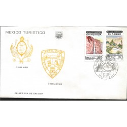 J) 1982 MEXICO, MEXICO TURISTIC, CHIHUAHUA, DURANGO, SHIELD, MULTIPLE STAMPS, FDC
