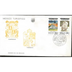 J) 1982 MEXICO, MEXICO TURISTIC, CAMPECHE, TABASCO, SHIELD, MULTIPLE STAMPS, FDC
