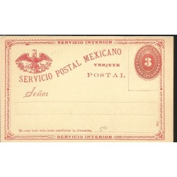 J) 1875 MEXICO, NUMERAL, 3 CENTS ORANGE, EAGLE, POSTAL STATIONARY, XF
