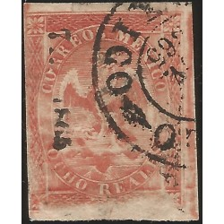 J) 1865 MEXICO, IMPERIAL EAGLE, 8 REALES RED, CIRCULAR CANCELLATION, PLATE FLAW IN BOTTOM PANEL, MEXICO, XF