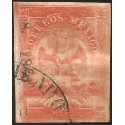 J) 1864 MEXICO, V PERIOD, IMPERIAL EAGLE, 8 REALES RED, CIRCULAR CANCELLATION, JALAPA, XF