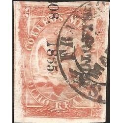 J) 1865 MEXICO, IV PERIOD, IMPERIAL EAGLE, 8 REALES, CIRCULAR CANCELLATION, SAN LUIS POTOSI, XF