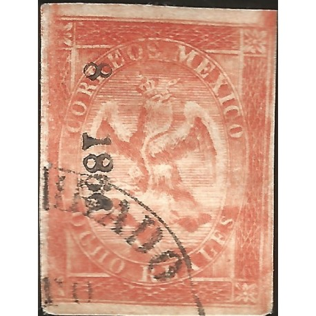 J) 1866 MEXICO, V PERIOD, IMPERIAL EAGLE, 8 REALES RED, JALAPA, XF