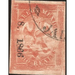 J) 1866 MEXICO, V PERIOD, IMPERIAL EAGLE, 8 REALES RED, CIRCULAR CANCELLATION, JALAPA, XF