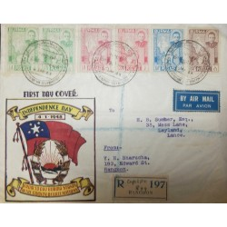 O) 1948 BURMA, U AUNG SAN MAP AND CHINZE-SCT 87 2a-SC 88 3 1/2a -SC 89 8a, INDEPENDENCE, COMPLETE SET, REGISTERED FROM RANGOON