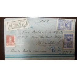 O) 1928 CIRCA - ARGENTINA, SAN MARTIN SC 332 24c -EAGLE SCT C5 20c, BUENOS AIRES R. Y V.D., REGISTERED TO USA