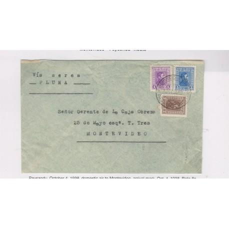O) 1938 URUGUAY, VIA AEREA PLUNA- DOMESTIC AIR TO MONTEVIDEO. PAYSANDU ROUTE, ARTIGAS 1c- ARTIGAS 5c- ARTIGAS 2c, XF