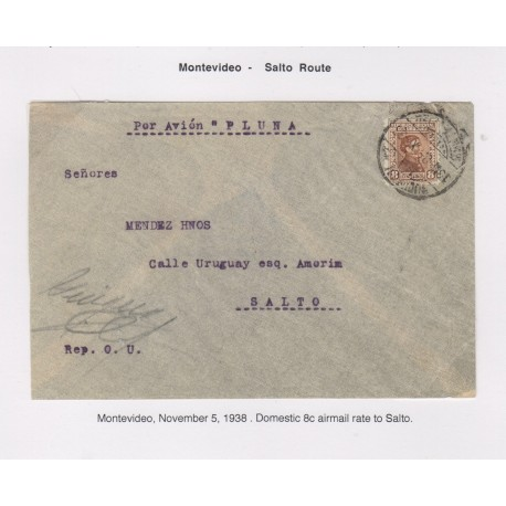 O) 1938 URUGUAY, POR AVION PLUMA, DOMESTIC AIRMAIL, SALTO ROUTE, ARTIGAS 8c, XF