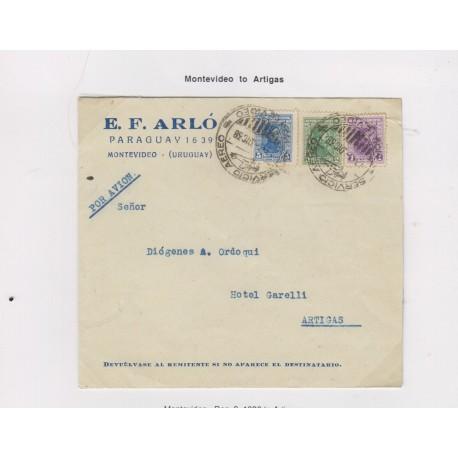 O) 1938 URUGUAY, ARTIGAS 5c- ARTIGAS 2c-ARTIGAS 1c, EARLIEST RECORDED USAGE OF THE AIR PLANE CANCEL, FROM MONTEVIDEO TO ARTIGAS