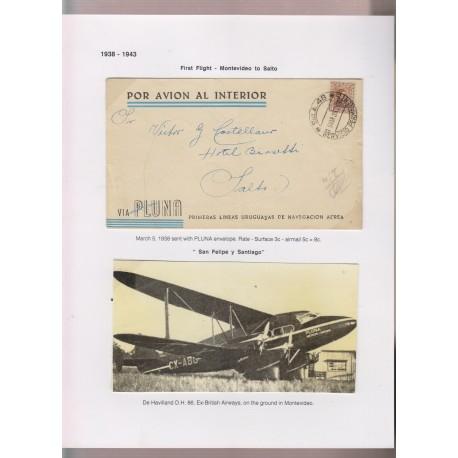 O) 1939 URUGUAY, VIA PLUNA-FIRST FLIGHT FROM MONTEVIDEO TO SALTO,SERVICIO PERMANENTE - HAVILLAND D.H. EX BRITISH AIRWAYS