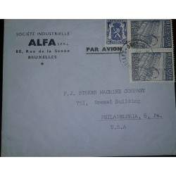 O) 1948 BELGIUM, TEXTILE INDUSTRY SCT 382 3.15fr -COAT OF AMRS SC 275 50c, ALF-BRUXELLES, TO USA