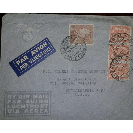 O) 1947 BELGIUM, KING LEOPOLD III SCT 302 10fr -COAT OF ARMS 266 5c, AIRMAIL TO USA