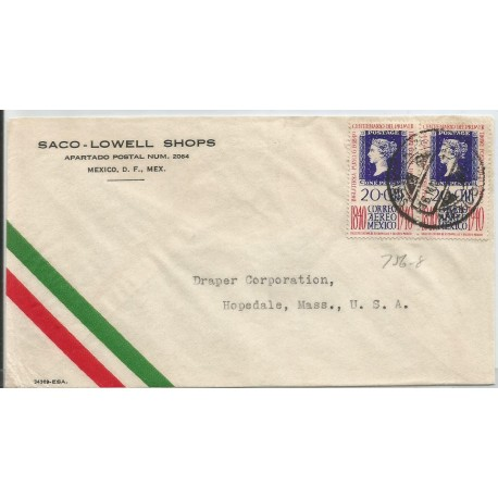 J) 1940 MEXICO, CENTENARY OF THE FIRST POSTAL STAMP OF THE WORLD, ENGLAND, PENNY BLACK, PAIR, COMMECIAL LETTER