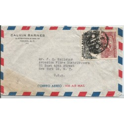 J) 1956 MEXICO, COMMERCIAL LETTER, EAGLE MAN OVER MOUNTAINS, SYMBOL OF AIR SERVICE, MULTIPLE STAMPS, AIRMAIL