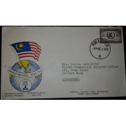 L) 1960 MALAYSIA, WORLD REFUGEE YEAR 1960, FEDERATION OF MALAYA, 12C, PURPLE, FLAG, FDC