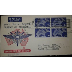 L) 1957 AUTRALIA, ROYAL FLYING DOCTOR SERVICE OF AUSTRALIA, BLUE, MAP, 7D, CIRCULATED COVER FROM
