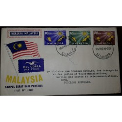 L) 1963 MALAYSIA, INAUGURATION OF THE FEDERATION- MALAYSIA, 10SEN, BLUE, SUN, 12SEN GREEN, 50SEN, FLAG, AIRMAIL, FDC