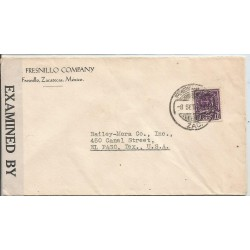 J) 1942 MEXICO, COMMERCIAL LETTER, FRESNILLO COMPANY, CROSS OF PALENQUE, OPENED BY EXAMINER, AIRMAIL