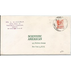 J) 1950 MEXICO, OLMECA HEAD, CIRCULATED COVER, FROM MICHOACAN TO NEW YORK
