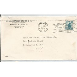 J) 1948 MEXICO, COMMERCIAL LETTER, AMERICAN BOOK STORE, MAILMAN, WITH SLOGAN CANCELLATION, AIRMAIL