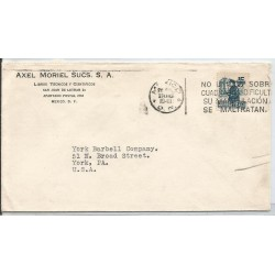 J) 1949 MEXICO, COMMERCIAL LETTER, AXEL MORIEL SUCS, MAILMAN, WITH SLOGAN CANCELLATION, CIRCULATED
