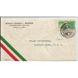 J) 1940 MEXICO, COMMERCIAL LETTER, SACO-LOWELL SHOPS, IV CENTENARY OF THE PRIMITIVE AND NATIONAL SCHOOL, AIRMAIL