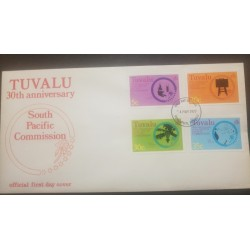 O) 1977 TUVALU, MICROSCOPE, EDUCATION BLACKBOARD, FRUIT GROWING PALM, MAP SOUTH PACIFIC TERRITORY SOUTH PACIFIC COMMISSION,