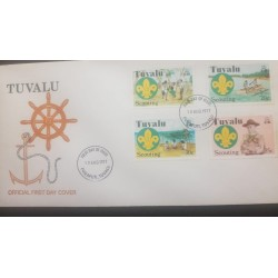 O) 1977 TUVALU, SCOUTS-LORD BADEN POWELL, SWEARING IN CEREMONY AND SCOUT EMBLEM-OUTRIGGER-CANOE-UNDER SUN SHELTER, FDC XF