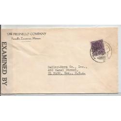 J) 1942 MEXICO, COMMERCIAL LETTER, FRESNILLO COMPANY, CROSS OF PALENQUE, OPENED BY EXAMINER, AIRMAIL, CIRCULATED