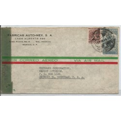 J) 1945 MEXICO, AUTO-MEX FACTORIES, AZTEC BIRD MAN, MULTIPLE STAMPS, OPENED BY EXAMINER, AIRMAIL, CIRCULATED