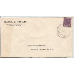 J) 1941 MEXICO, COMMERCIAL LETTER, BRASSEL & MORALES, CROSS OF PALENQUE, AIRMAIL, CIRCULATED COVER, FROM MEXICO TO USA