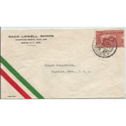 J) 1939 MEXICO, COMMERCIAL LETTER, SACO-LOWELL SHOPS, EAGLE MAN OVER MOUNTAINS, AIRMAIL, CIRCULATED COVER, FROM MEXICO TO USA