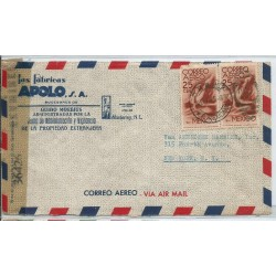 J) 1945 MEXICO, COMMERCIAL LETTER, APOLO FACTORIES, SYMBOL OF FLIGHT, PAIR, OPENED BY EXAMINER, AIRMAIL