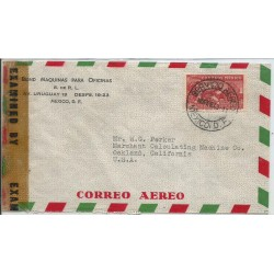 J) 1943 MEXICO, COMMERCIAL LETTER, BOND OFFICE MACHINES, EAGLE OVER MOUNTAINS, OPENED BY EXAMINER, AIRMAIL
