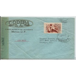 J) 1946 MEXICO, COMMERCIAL LETTER, CODIPA SA, SYMBOL OF FLIGHT, OPENED BY EXAMINER, AIRMAIL, CIRCULATED