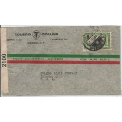 J) 1942 MEXICO, COMMERCIAL LETTER, TOLLEDO COLLINS, V CENTENARY OF THE FOUNDATION OF GUADALAJARA