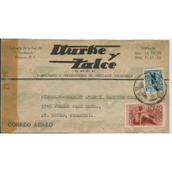 J) 1944 MEXICO, COMMERCIAL LETTER, ITURBE Y ZALCE, CAMPAIN AGAINST MALARIA, SYMBOL OF FLIGHT, OPENED BY EXAMINER