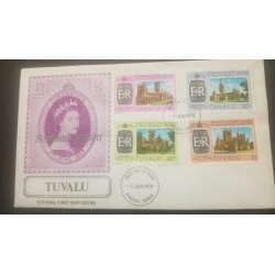 O) 1978 TUVALU, CORONATION OF ELIZABETH II -HERITAGE-ARCHITECTURE-CATHEDRAL- CANTERBURY-WELL-HEREFORD, FDC XF