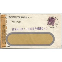 J) 1943 MEXICO, COMMERCIAL LETTER, NATIONAL BANK OF MEXICO, WINDOW EVENLOPE, CROSS OF PALENQUE, SPANISH CORRESPONDENCE